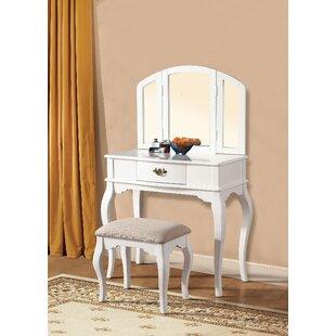 A&J Homes Studio Maren White Vanity Set with Mirror