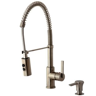 Kingston Brass Continental Pull Down Single Handle Kitchen Faucet with Soap Dispenser