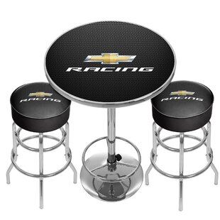 Chevy Racing Game Room Combo 3 Piece Pub Table Set Trademark Global