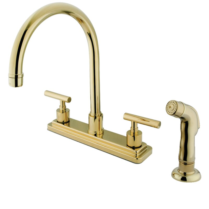 Kingston Brass Manhattan Double Handle Kitchen Faucet With Side Spray Reviews Wayfair
