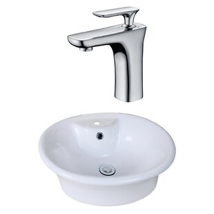 Affordable Price Ceramic Circular Vessel Bathroom Sink with Faucet and Overflow ByAmerican Imaginations