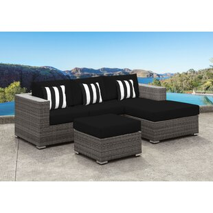 Orren Ellis Yeager 3 Piece Rattan Sectional Set with Cushion