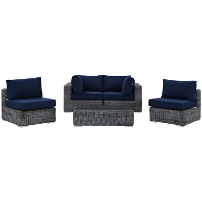 Alaia 5 Piece Rattan Sunbrella Sectional Seating Group with Cushions Cushion Color: Navy by Brayden Studio