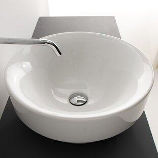 Price comparison Cento Ceramic Ceramic Circular Vessel Bathroom Sink with Overflow ByWS Bath Collections