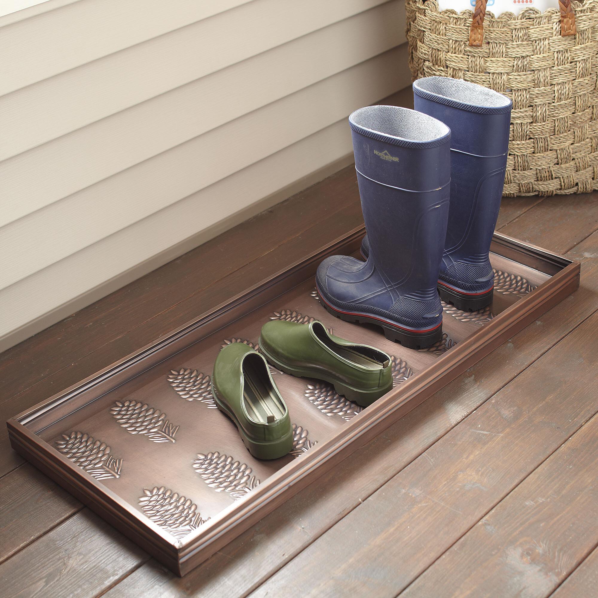 Famous Birch Lane™ Pinecone Galvanized Steel Boot Tray & Reviews | Birch Lane QB13