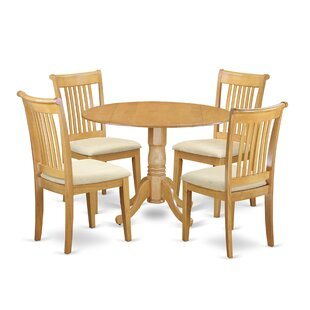 Gloucester 5 Piece Drop Leaf Breakfast Nook Solid Wood Dining Set by Charlton Home