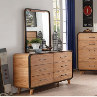 Harriet Bee Carnamaddy 6 Drawer Double Dresser with Mirror Image
