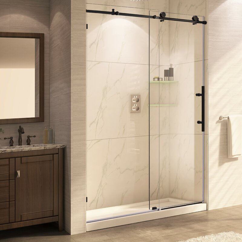 trident mocha x single sliding frameless shower door