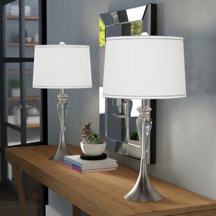 Morrisania Crystal Satin Trimmed 28 Table Lamp (Set of 2)