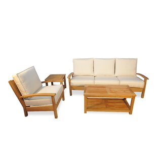 Teak 4 Piece Sunbrella Sofa Set with Cushions by Regal Teak