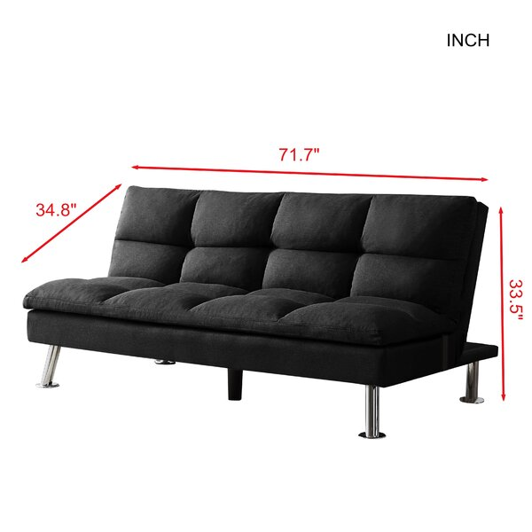 """Dariany Twin 71.7"""" Wide Linen Biscuit Back Convertible Sofa"""