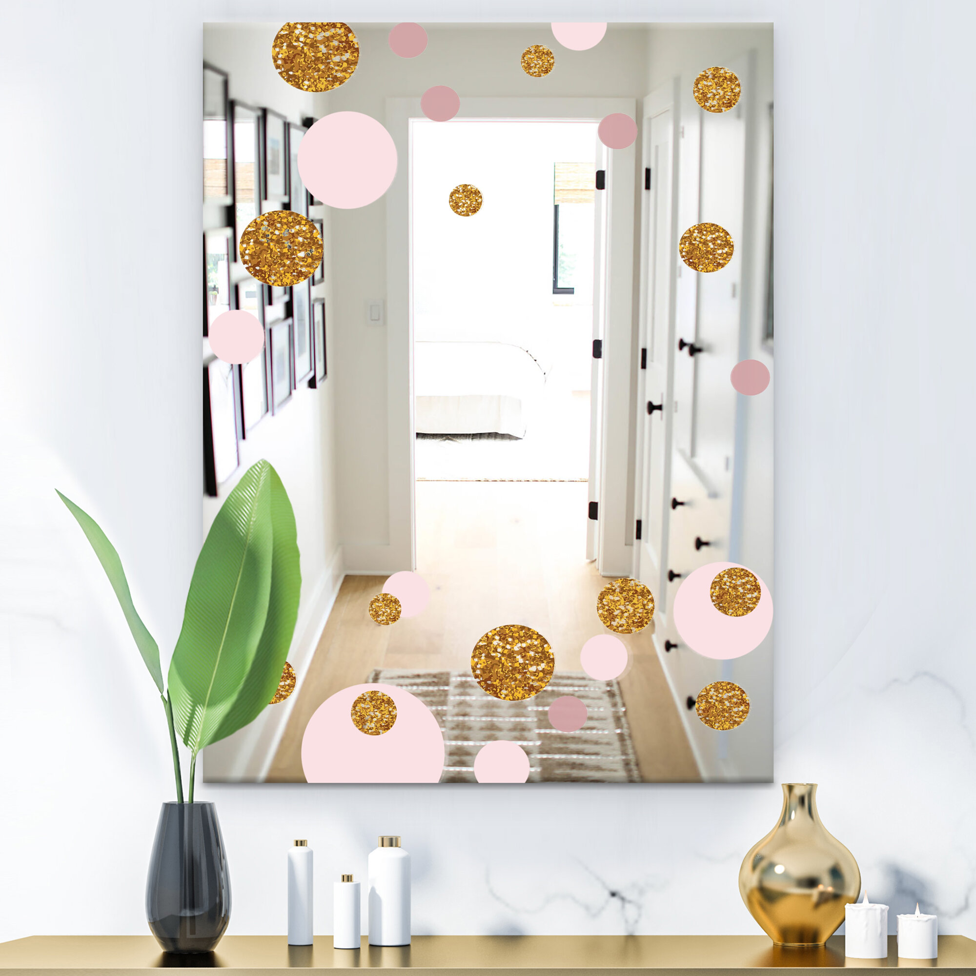 Circular Rhythm Decorative Glam Bathroom Vanity Mirror