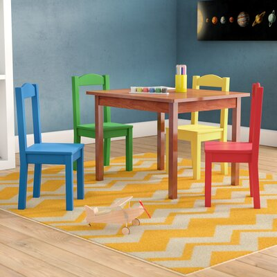 Zoomie Kids Etherton Kids 5 Piece Rectangular Table and Chair Set