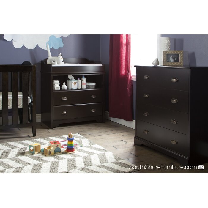 Espresso South Shore Peek-a-boo Changing Table with Open Storage