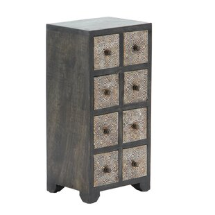 Bloomsbury Market Cima Rustic Rectangular 8-Drawer Vertical Free Standing Jewelry Armoire