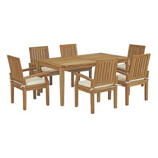 Elaina Outdoor Patio 7 Piece Teak Dining Set with Cushion