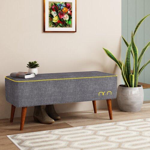 Gepolsterte Sitzbank Mr.M MONKEY MACHINE Farbe: Grafit / Gelb | Küche und Esszimmer > Sitzbänke > Einfache Sitzbänke | MONKEY MACHINE