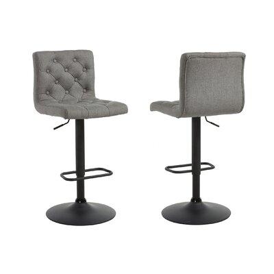 Ebern Designs Witney Adjustable Height Swivel Bar Stool Upholstery: Gray