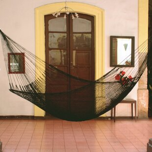 Single Person Portable 'Midnight' Hand-Woven Mayan Artists of the Yucatan Nylon With Accessories Included Indoor And Outdoor Hammock by Novica