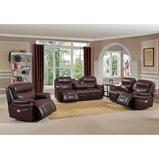 Kubik Reclining 3 Piece Leather Living Ro..