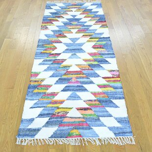 Affordable One-of-a-Kind Jaret Handmade Kilim Runner 2'7 x 6'1 Wool Blue/White Area Rug By Isabelline