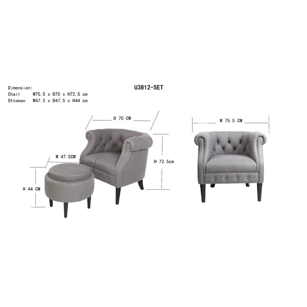 Jetzibe 29.7'' Wide Tufted Chesterfield Chair and Ottoman