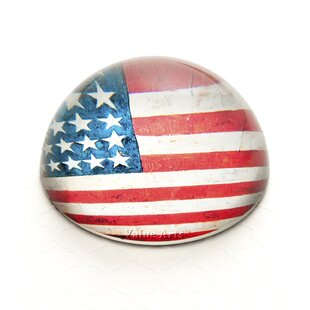 Value Arts Company Vintage American Flag Crystal Dome Paperweight