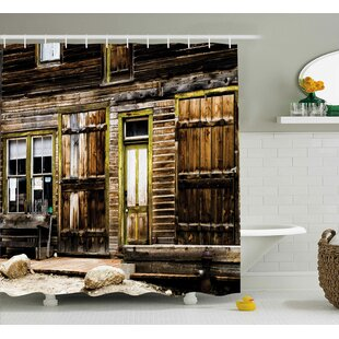Rustic Wooden Planks and Rocks Single Shower Curtain