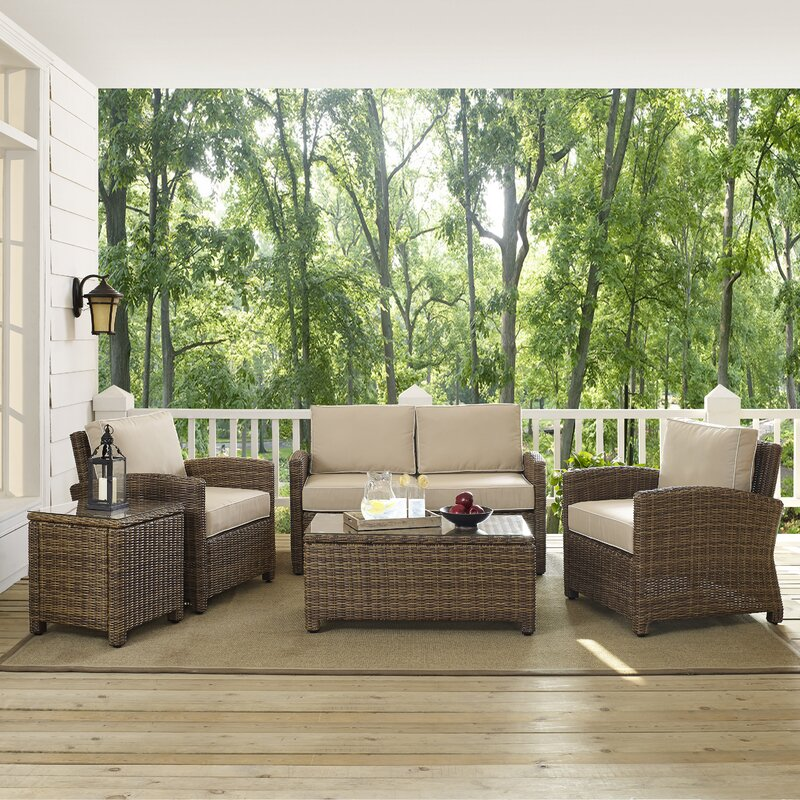 Dardel 5 Piece Rattan Sofa Set With Cushions