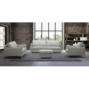 Orren Ellis Hewins Leather Configurable Living Room Set