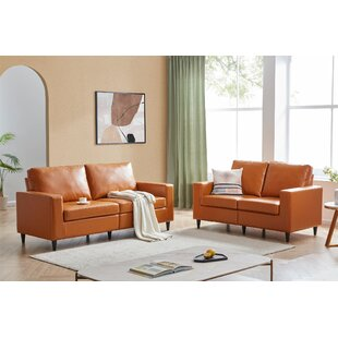 Sofa And Loveseat Sets Morden Style PU Leather Couch Furniture Upholstered 3 Seat Sofa Couch And Loveseat For Home Or Office (2+3 Seat) by George Oliver