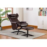 Bourkelands Leather Manual Recliner with Ottoman