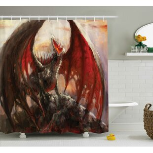 Fantasy World Majestic Dragon Mountain Top Mythological Fire-Spewing Creature Spooky Decor Single Shower Curtain