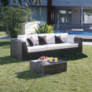 Hospitality Rattan Soho Patio Sofa with S..