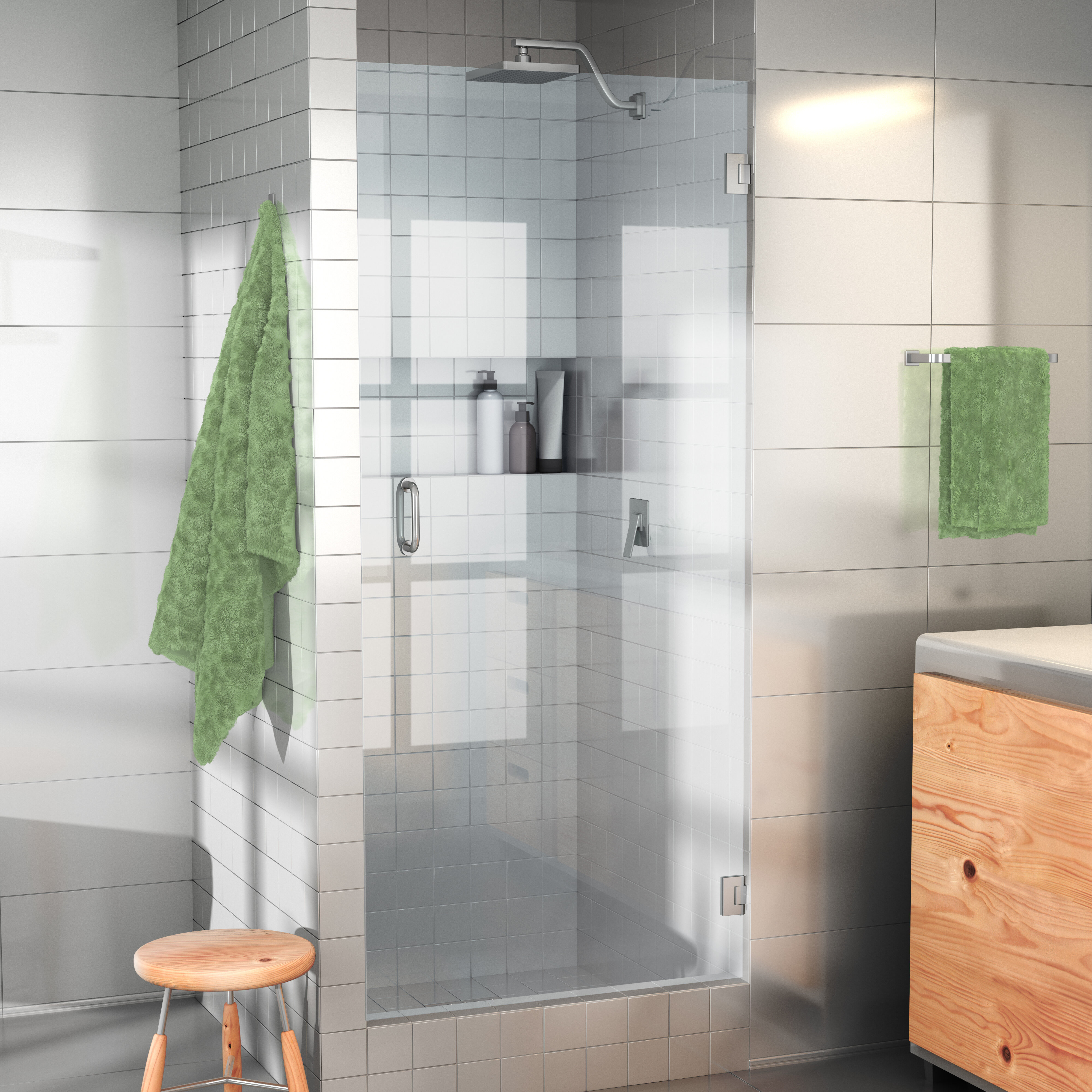 Glass Warehouse 25 X 78 Hinged Frameless Shower Door Reviews Wayfair