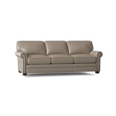 "Kato 102"""" Wide Genuine Leather Rolled Arm Sofa Body Fabric: Durango Marine, Nailhead Detail: Old Gold Spotted -  BirchLane, 9668F4C133BB419C91ECFA7F17003A4D"