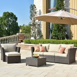 Cassville Furniture 6 Piece Rattan Sectional Seating Group with Cushions by Alcott Hill