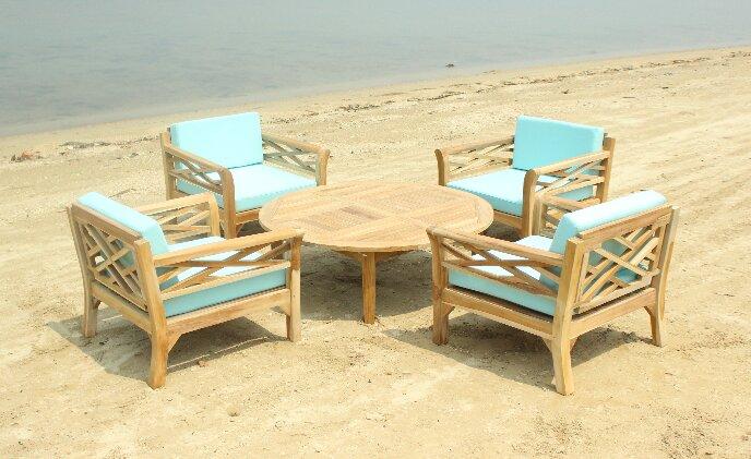 Longshore Tides Lorenzo 5 Piece Teak Sunbrella Conversation Set with Cushions