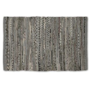 7bfa5c46b7 One-of-a-Kind Lecompte Striped Rag Hand-Knotted 4' x 6' Cotton Gray Area Rug