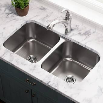 Houzer Glowtone 33 L X 22 W Double Basin Drop In Kitchen Sink Reviews Wayfair