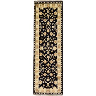 Deals One-of-a-Kind Huntingdon Hand-Knotted Runner 1'7 x 5' Wool Black/Beige Area Rug By Isabelline