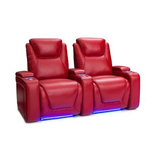 Latitude Run Leather Home Theater Row Seating (Row of 2)