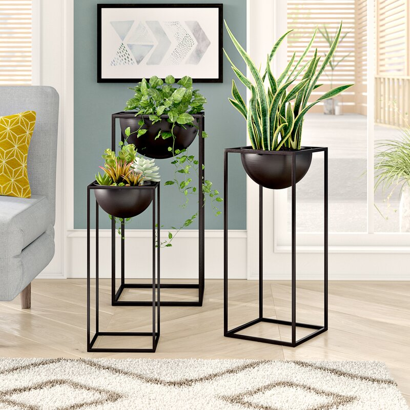 Welcher 3 Piece Modern Rectangular-Framed Nesting Plant Stand Set
