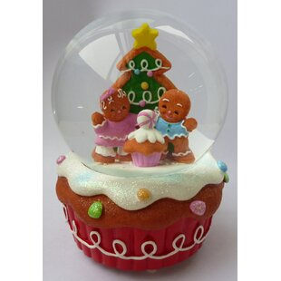 musical christmas gingerbread couple cupcake water globe
