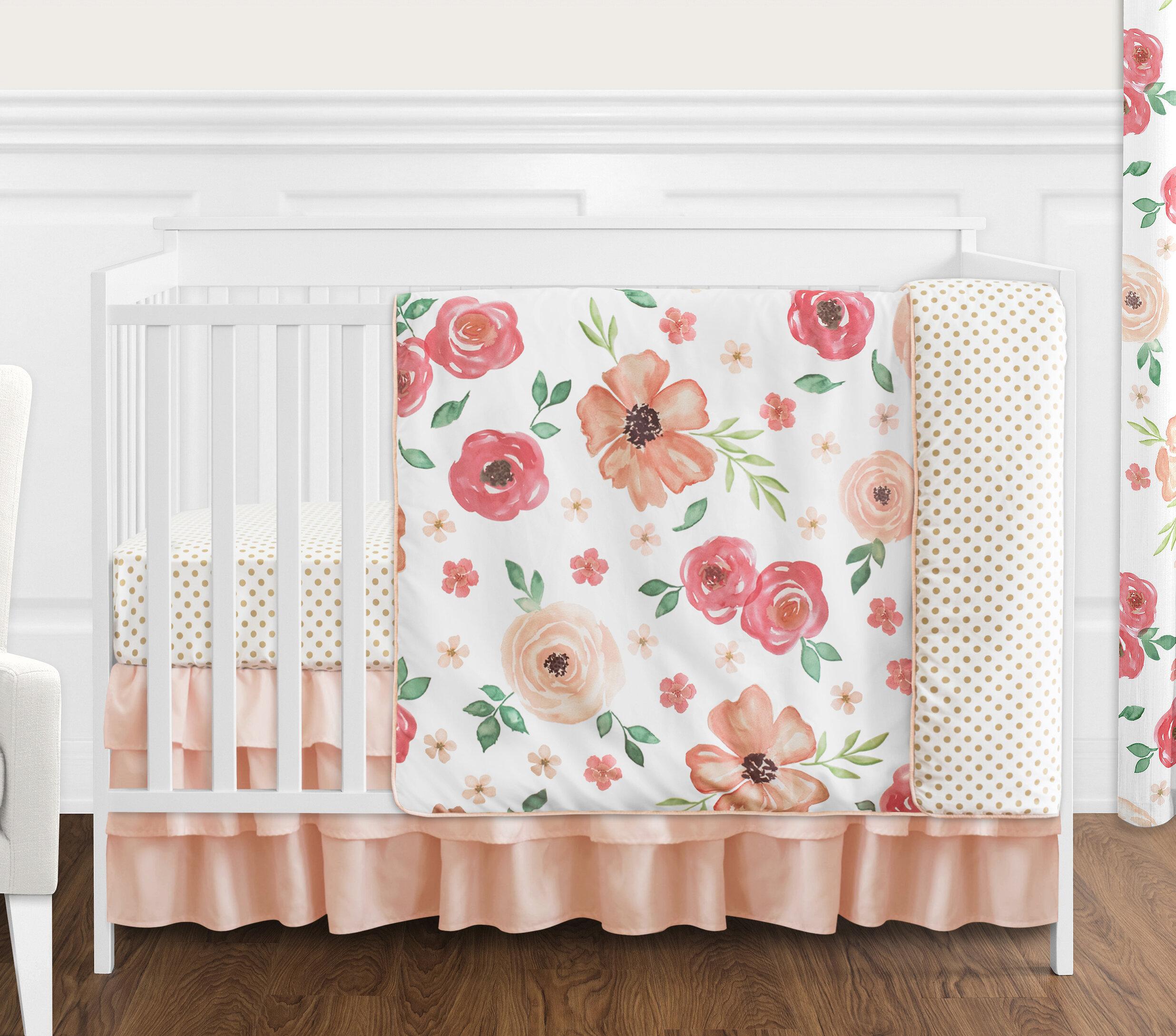Sweet Jojo Designs Watercolor Floral 4 Piece Crib Bedding Set Reviews Wayfair