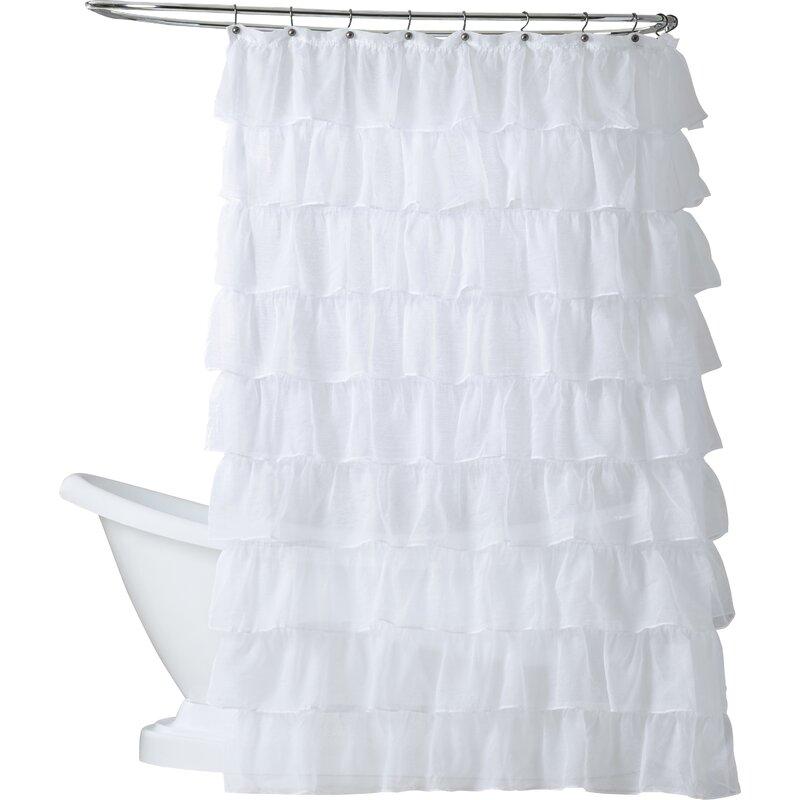 Ophelia & Co. Atia Voile Ruffled Tier Shower Curtain & Reviews   Wayfair