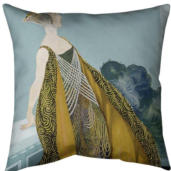 East Urban Home Art Nouveau Beaded Dress Woman Throw Pillow Cover Wayfair
