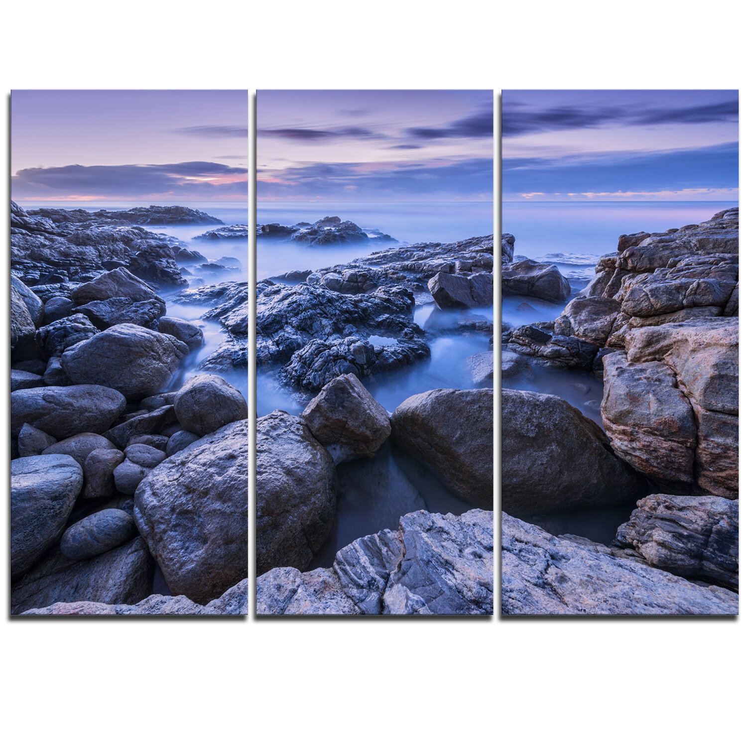 Designart Rocky Blue Seashore In Morning 3 Piece Graphic Art On Wrapped Canvas Set Wayfair