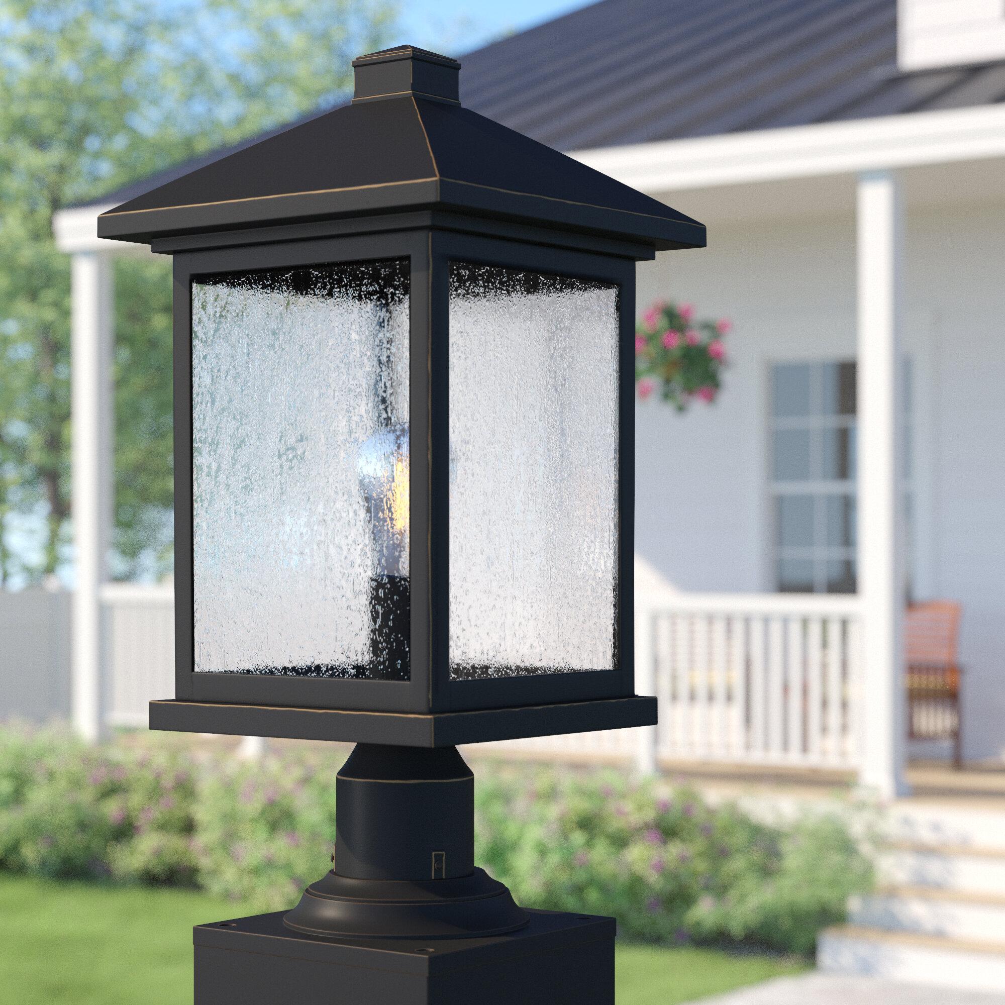 Sol 72 Outdoor Lovette Modern Outdoor 1 Light Glass Shade Pier Mount Light Wayfair