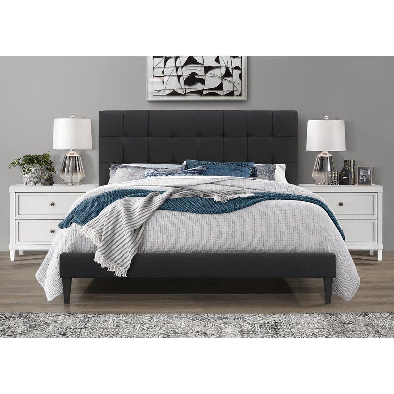 Forsan Tufted Upholstered Low Profile Platform Bed Ebay
